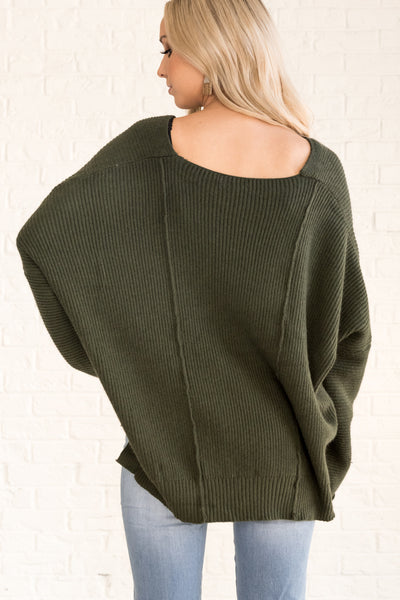 Forest Olive Green Cute Oversized Sweaters for Fall and Winter