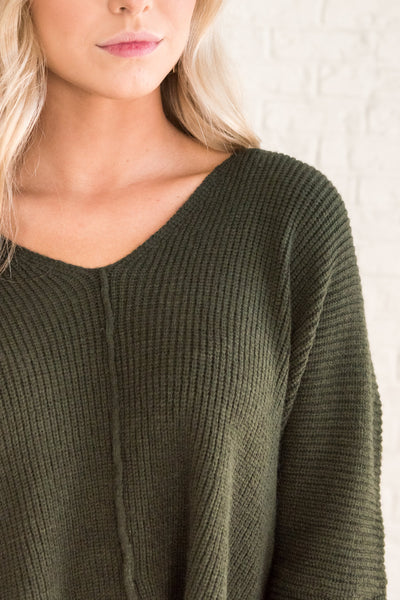 Forest Green Cute Knit Pullover Boyfriend Sweaters