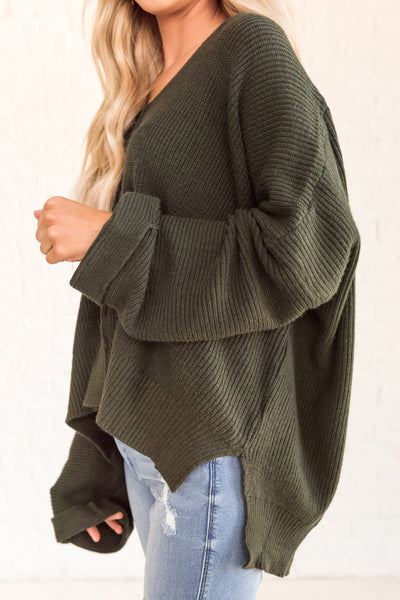 Forest Green Oversized Sweater with Split Hem and Exposed Seams