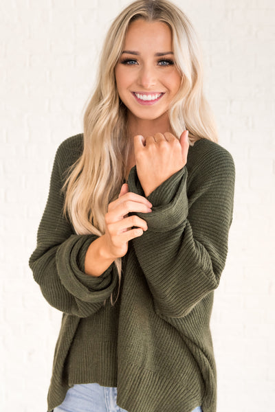 Forest Green Cute Knit Oversized Boyfriend Sweaters for Women
