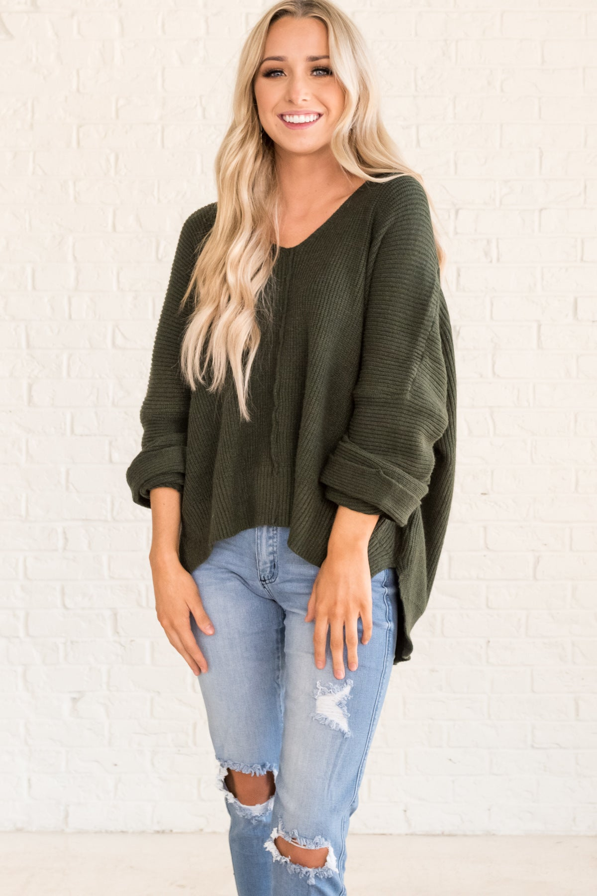 Forest Green Knit Pullover Oversized Boyfriend Sweaters Cozy Warm