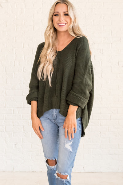 Forest Green Knit Pullover Oversized Boyfriend Sweaters