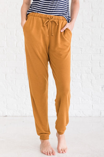 Mustard Gold Yellow Jogger Pants for Women Cozy Warm Clothing