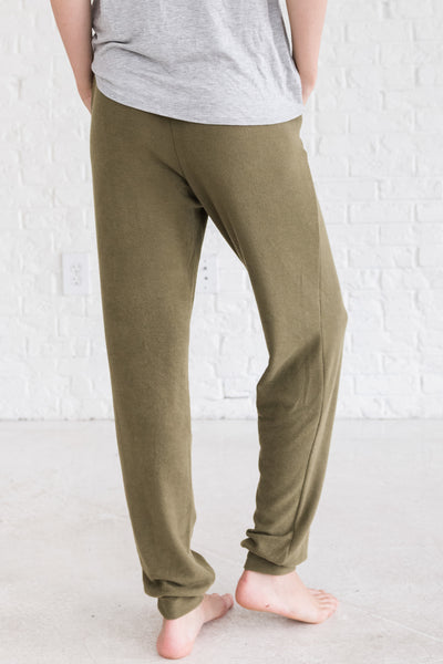Olive Sage Green Boutique Joggers with Pockets Cozy Warm