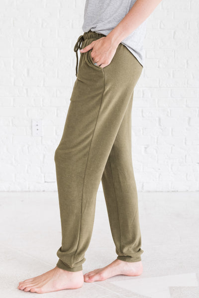 Olive Green Cinched Cozy Casual Womens Jogger Pants for Fall and Winter