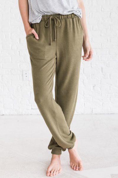 Olive Green Cute Sweatpants Jogger Pants for Women Cozy Warm Clothing