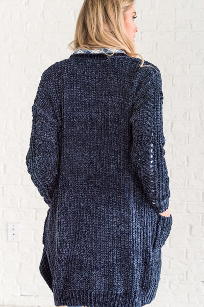 Navy Blue Cable Knit Loose Cozy Warm Soft Knit Boyfriend Cardigan Sweater