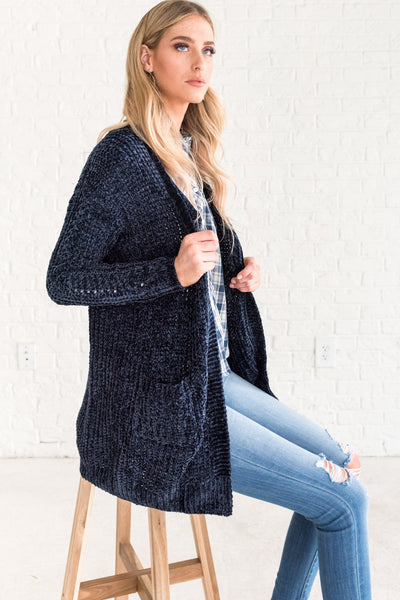 Navy Blue Boutique Cute Boyfriend Chenille Soft Cardigans for Warm Winter