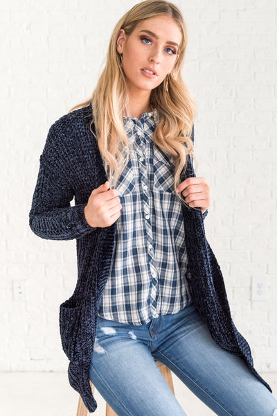 Navy Blue Oversized Plush Soft Knit Chenille Cardigan Sweaters for Women