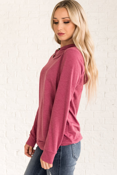 Pink Button Up Hoodie with Cute Details from Affordable Online Boutique for Womens Outerwear