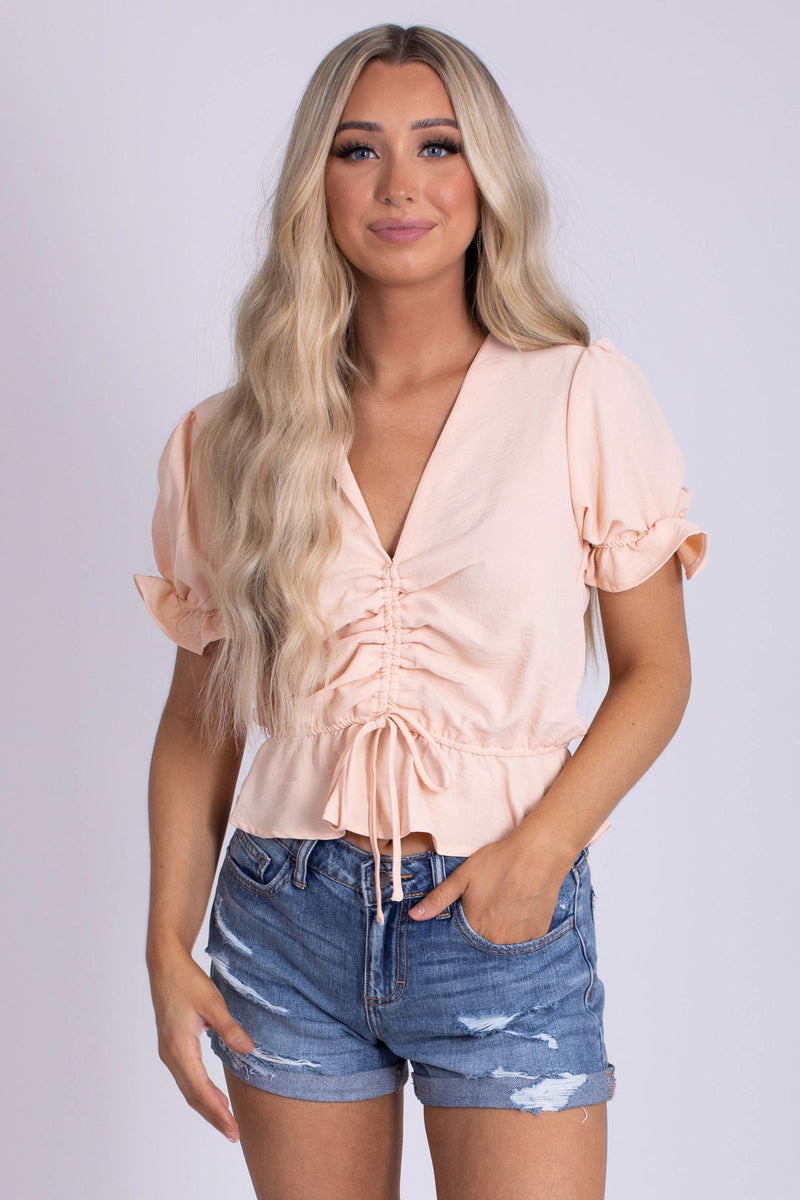 In My Element Drawstring Ruched Top - Light Pink