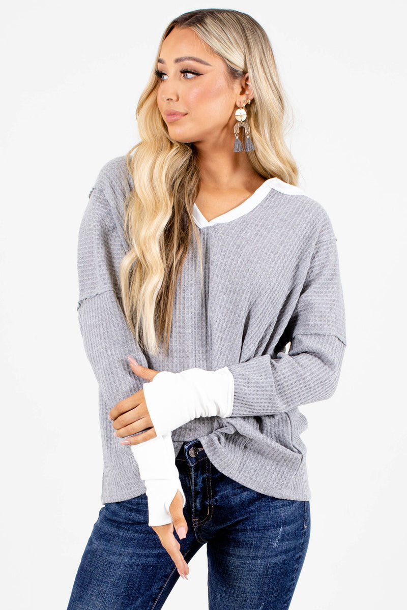 In No Rush Long Sleeve Top - Gray