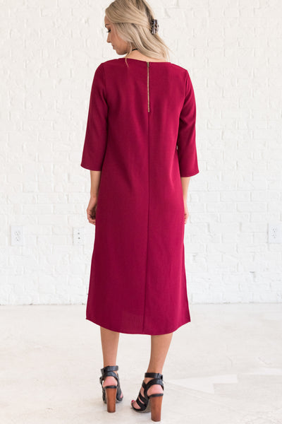 Burgundy Red Cute Winter Midi Dresses for Women
