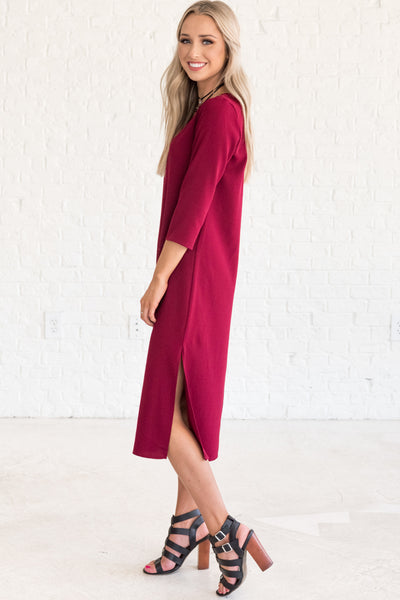 Burgundy Red Split Hem Midi Party Winter Dresses