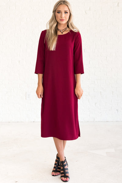 Burgundy Red Midi Length Special Occasion Holiday Party Winter Dress