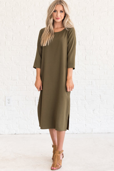 Olive Green 3/4 Sleeve Midi Dresses for Winter