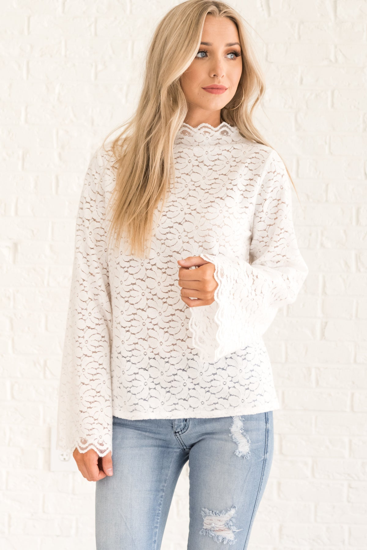 658facf241b5e2 White Lace Long Sleeve Blouses from Affordable Online Boutique