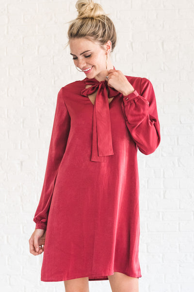 Red Long Sleeve Silky Bow Front Cute Winter Dresses