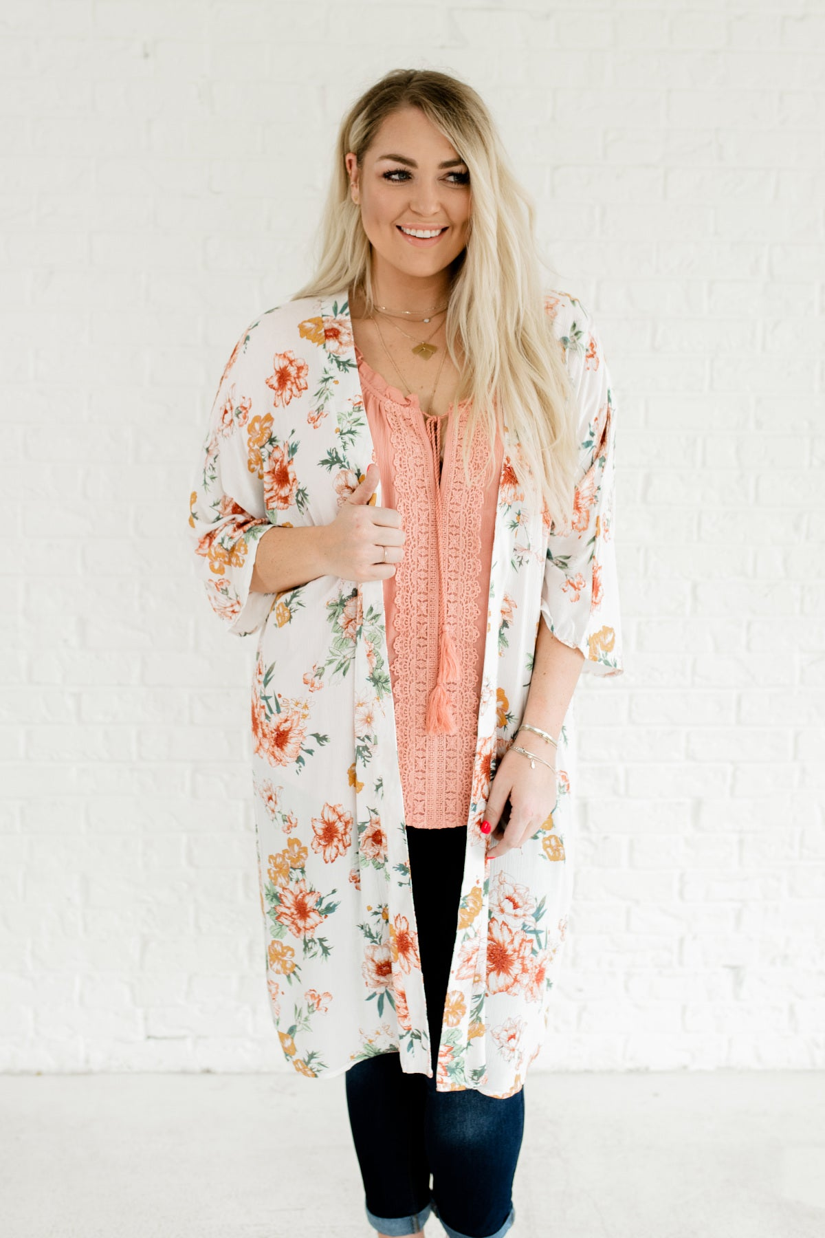 2e83caff93 White Cute Plus Size Tropical Floral Print Lightweight Kimono Cardigan  Cover Ups for Summer