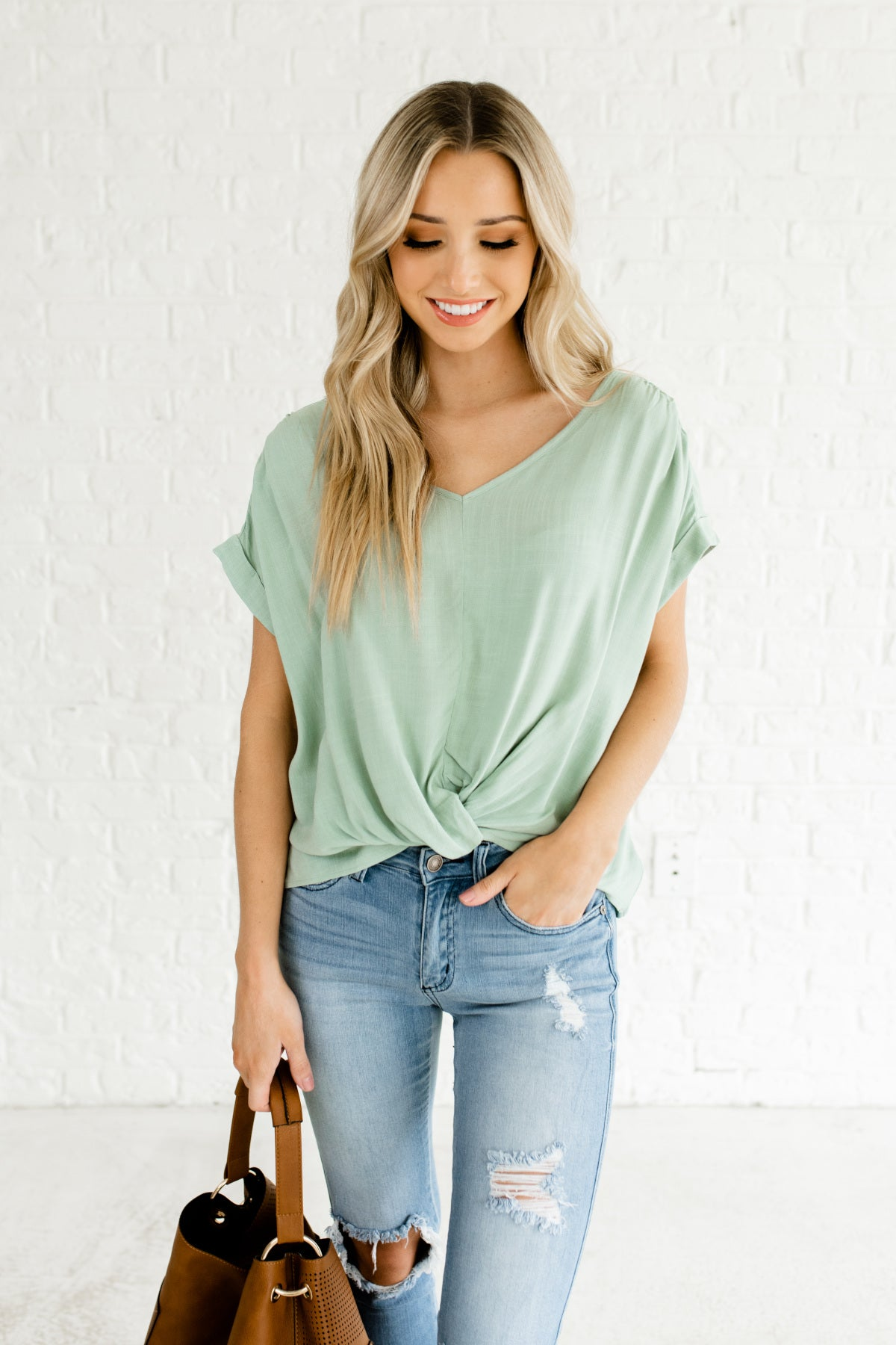 Cambridge Blue Green Turquoise Infinity Knot Tops Boutique