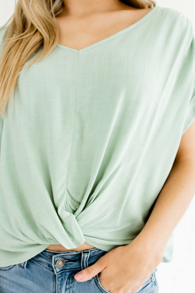 Turquoise Blue Green Infinity Knot Tops Affordable Online Boutique
