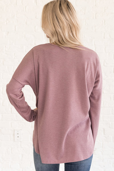 Mauve Purple Long Sleeve Tops