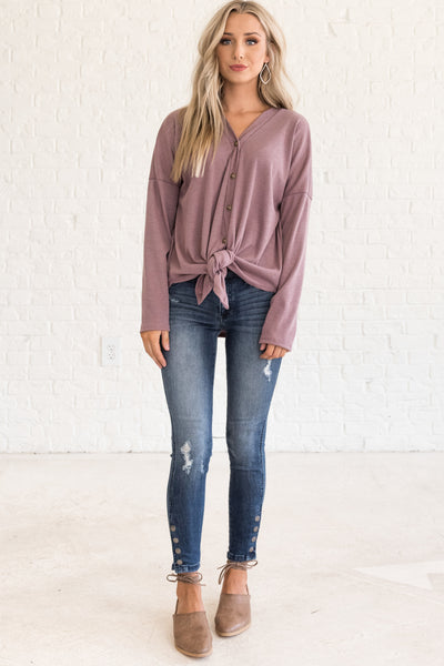 Mauve Purple Womens Tops