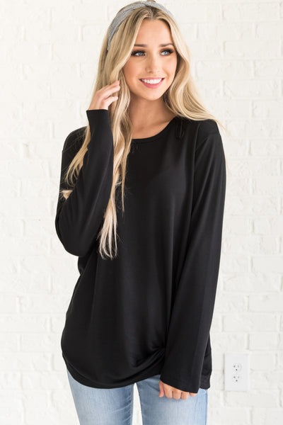 Black Front Knot Cute Soft Comfy Pullovers from Affordable Online Boutique for Women