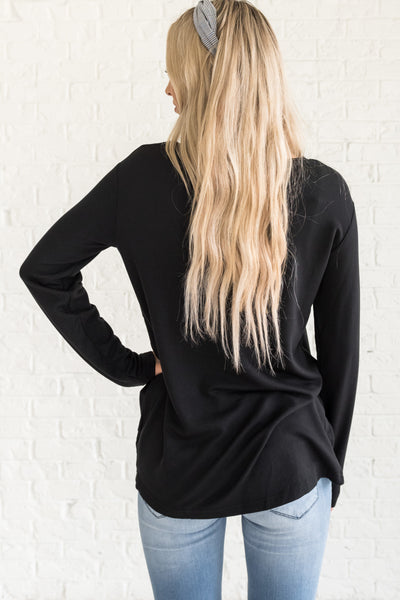 Black Asymmetrical Front Knot Knotted Soft Pullovers for Christmas Cozy Warm Clothing