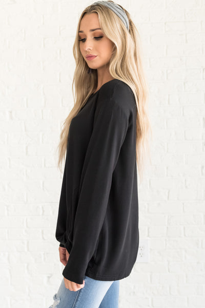 Black Front Knot Soft Pullovers with Slightly Oversized Boyfriend Fit Cozy Warm