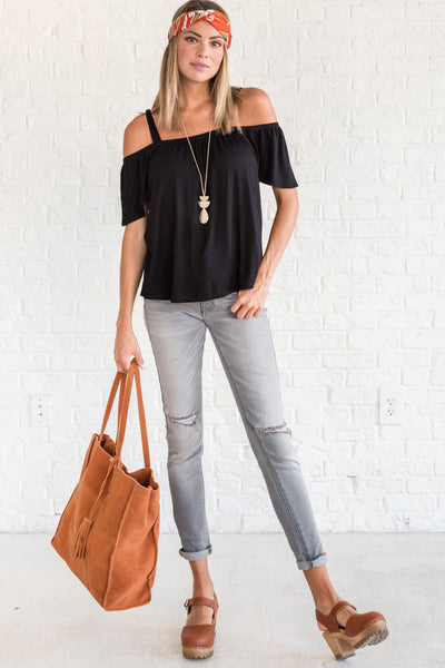 Black Cold Shoulder Tops with Off the Shoulder and Soft Stretchy Material