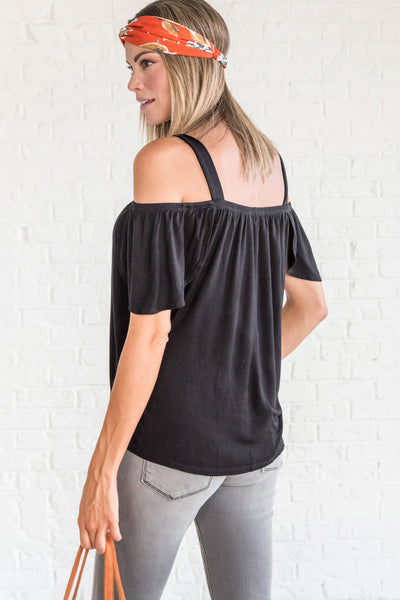 Black Cold Shoulder Tops with Short Flowy Sleeves and Lightweight Material