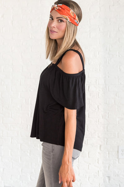 Black Cute Cold Shoulder Tops from Affordable Online Boutique