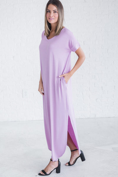 Purple Maxi Long Full Length Floor Rounded Split Hem Cute Slit Leg Dresses
