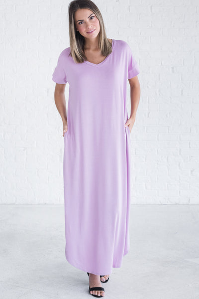 Lavender Lilac Purple Cute Split Hem Maxi Dresses for Women