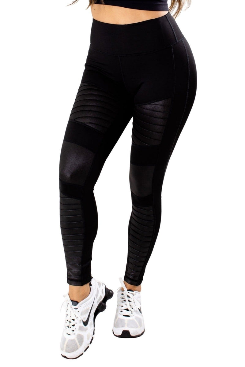 High Waisted Leather Accent Legging
