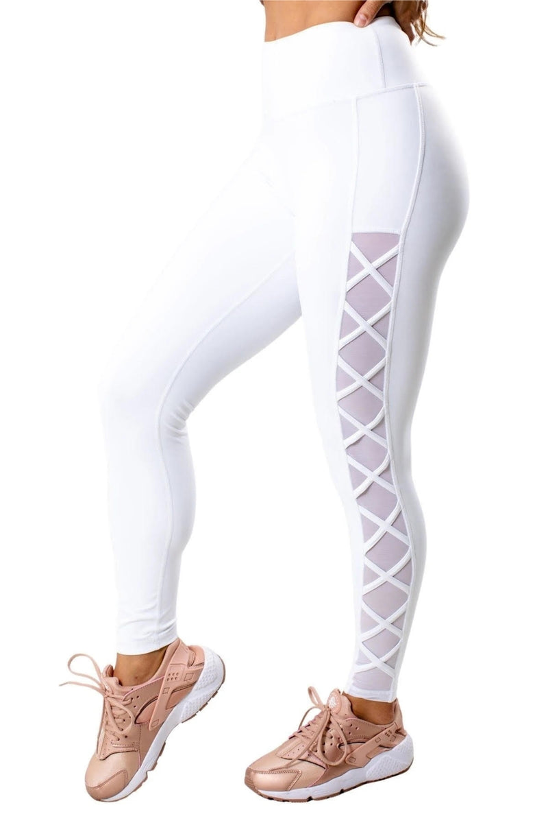 High Waisted Mesh Accent Legging