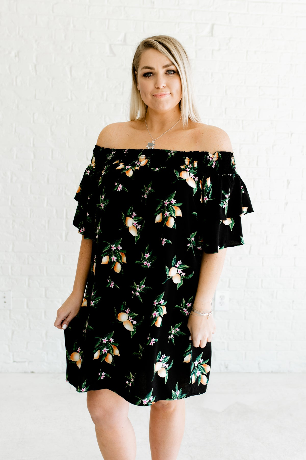 Lemon Blossom Black Off Shoulder Mini Dress