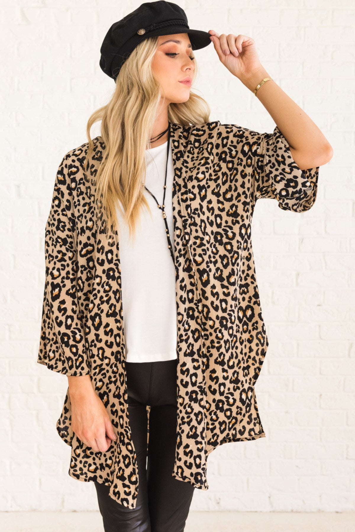 Leopard Print Boutique Kimono with Open Front and Flare Sleeves for Layering