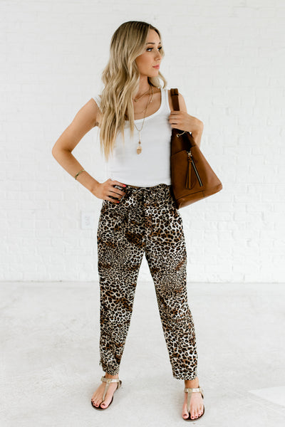 Brown Leopard Animal Print Cute Boutique Pants for Women