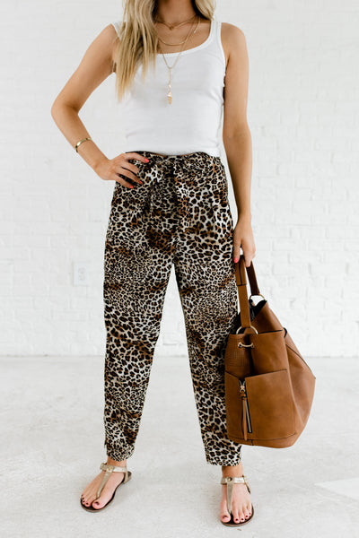 White Brown Leopard Print Zipper Belted Dressy Boutique Pants