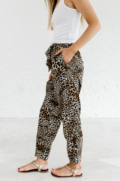 Brown White Black Tan Leopard Print Pants Affordable Online Boutique