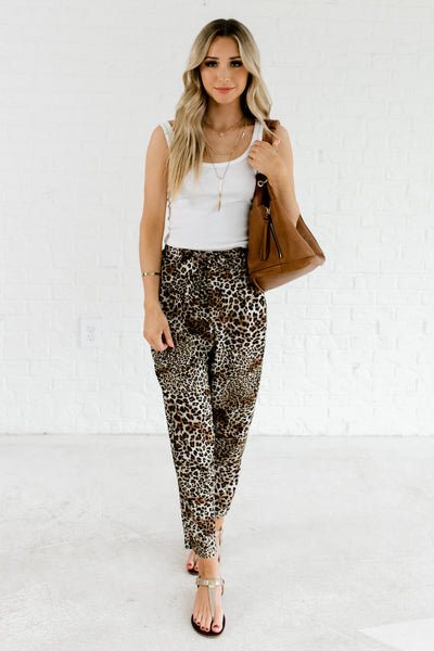 Brown Leopard Print Cute Flowy Business Pants Affordable Online Boutique