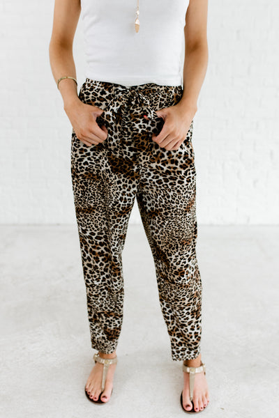 Leopard Animal Print High Quality Pants Trousers for Women Boutique