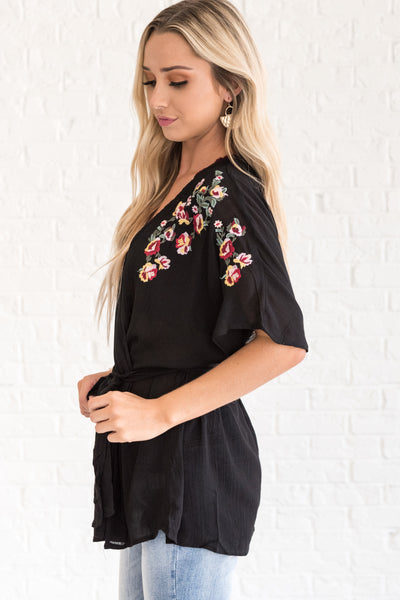 Black Short Sleeve Boho Kimono with Embroidered Floral Accents