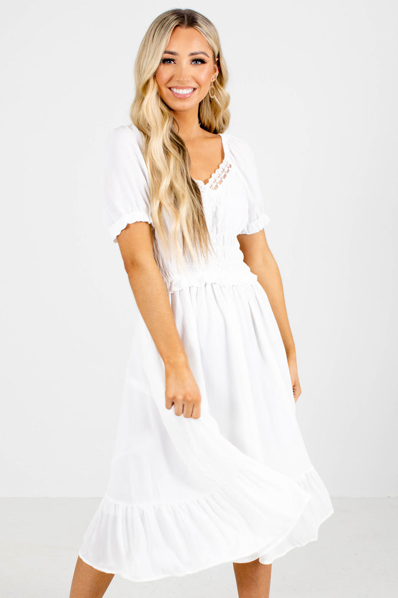 Let's Go Out Ruched Midi Dress - White