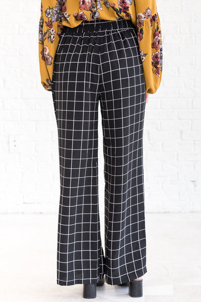 Black Grid Flare Palazzo Pants with Tie Front for Fall