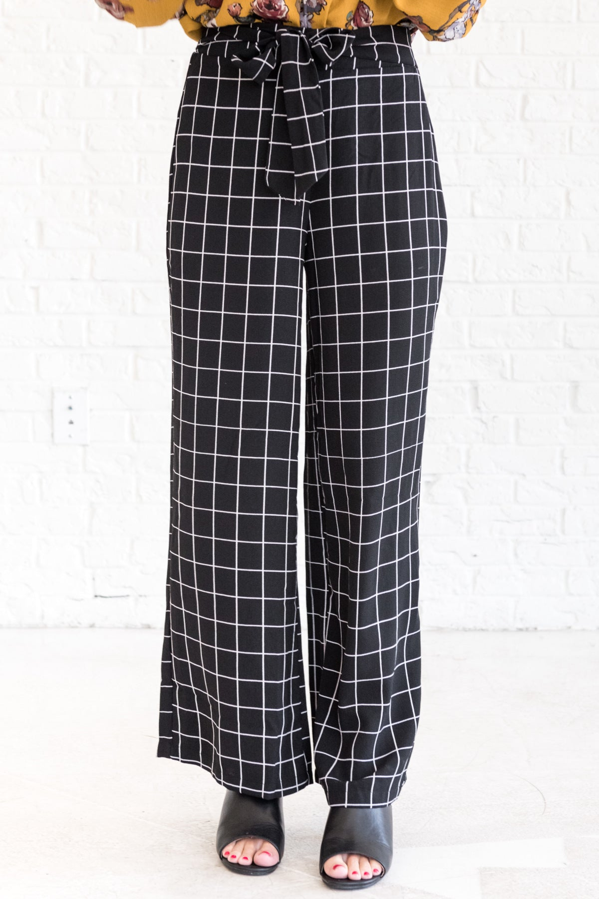 Black White Striped Grid Palazzo Flare Pants for Women