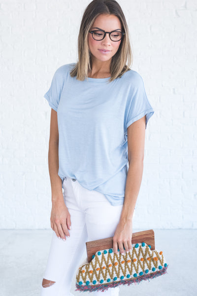 Light Blue Cute Tops and Tees for Women from Affordable Online Boutique