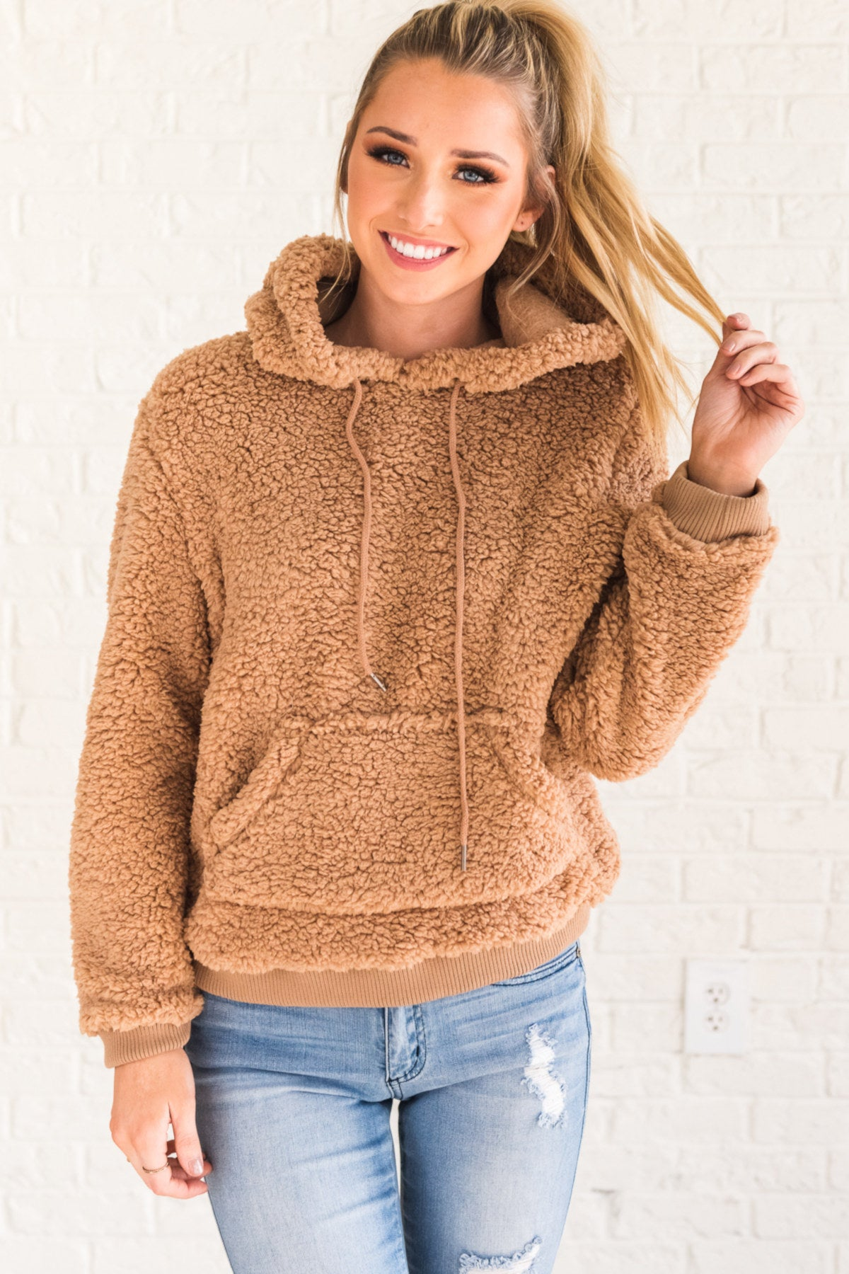 Camel Light Brown Faux Fur Shearling Teddy Pullover Hoodie with Hood Drawstrings and Kangaroo Pocket
